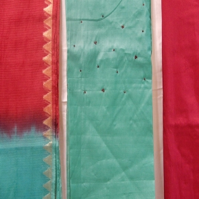 Pure tussar fabrics with contrasted sequence work on yoke part and double shaded matching shawl