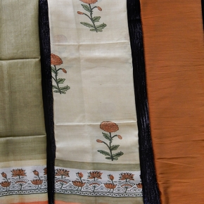 Pure tussar silk salwar Material top with printed tussar shawl and raw cotton bottom