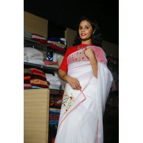 White organza Saree with thread works and contrast chilly red blouse