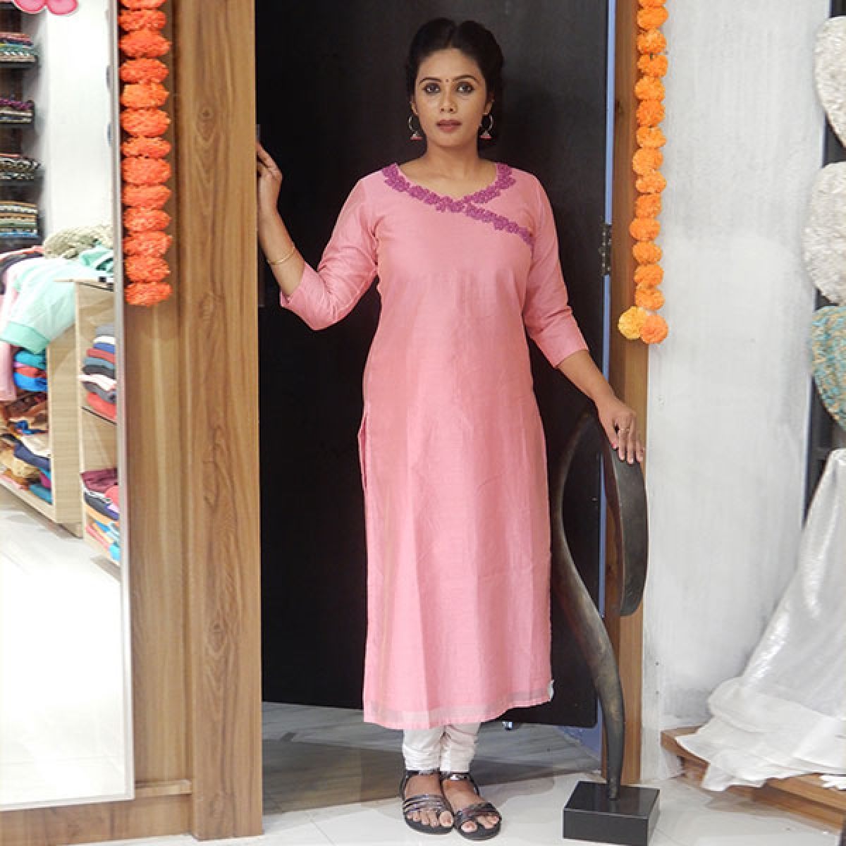 Pastel pink chanderi silk kurta with beads and french knotwork on neckline