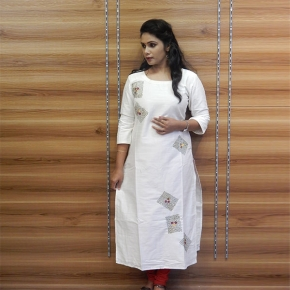 Raw cotton off white kurta with ari work on body part